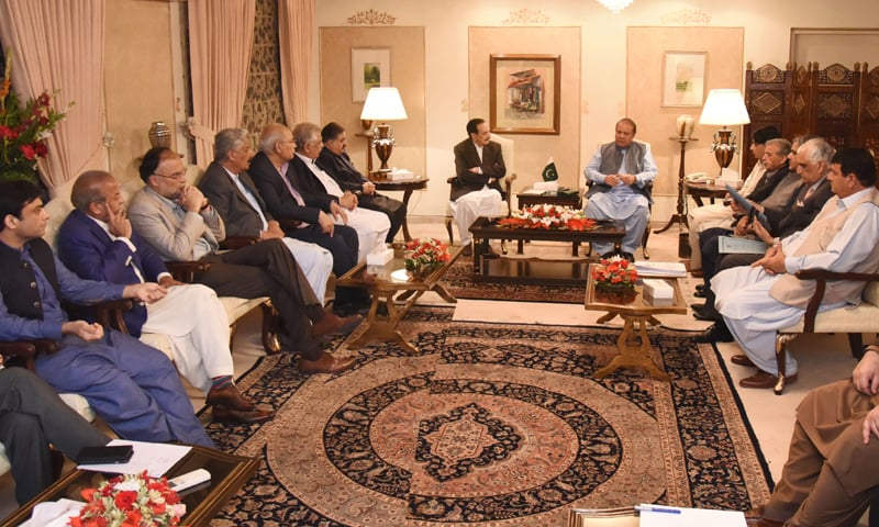ISLAMABAD: Pakistan Muslim League-N president Nawaz Sharif chairs a meeting of the party on Monday.—Dawn