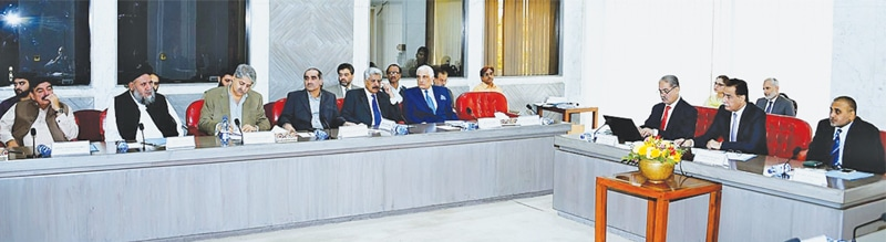 NATIONAL Assembly Speaker Sardar Ayaz Sadiq chairing the meeting of parliamentary leaders at Parliament House on Tuesday.—APP