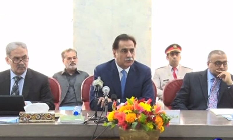 NA Speaker Ayaz Sadiq addresses the media after parliamentary leaders failed to agree on the constitutional amendment bill. —DawnNews
