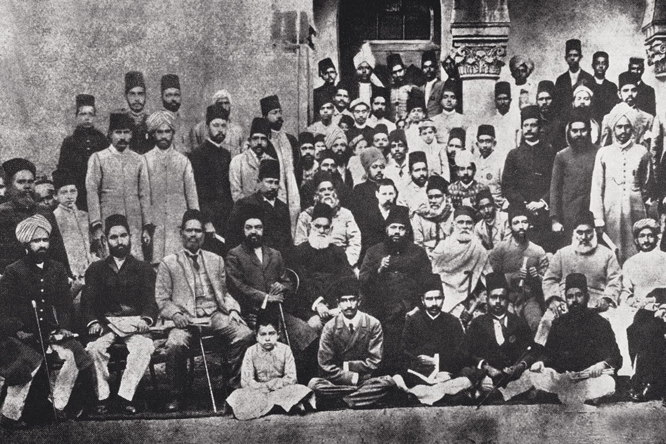 Allama Iqbal (standing; third from right) at the 1904 annual session of the Anjuman-i-Himayat-i-Islam in Lahore. One of Anjuman's objectives was to provide education to the Muslims of India, and it established the Islamia College for Women and the Islamia College, Lahore, in addition to several schools for boys and girls. In 1919, Allama Iqbal was appointed general secretary of the organisation. Photo: The Allama Iqbal Collection.