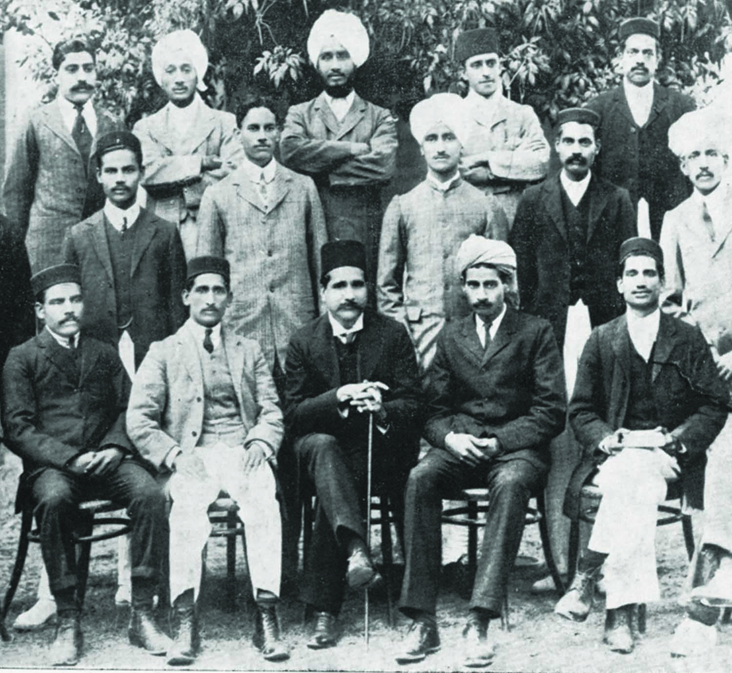 Allama Iqbal (front row; centre) with students at Government College, Lahore, where he served as a faculty member in the Philosophy Department. Photo: Iqbal Academy.