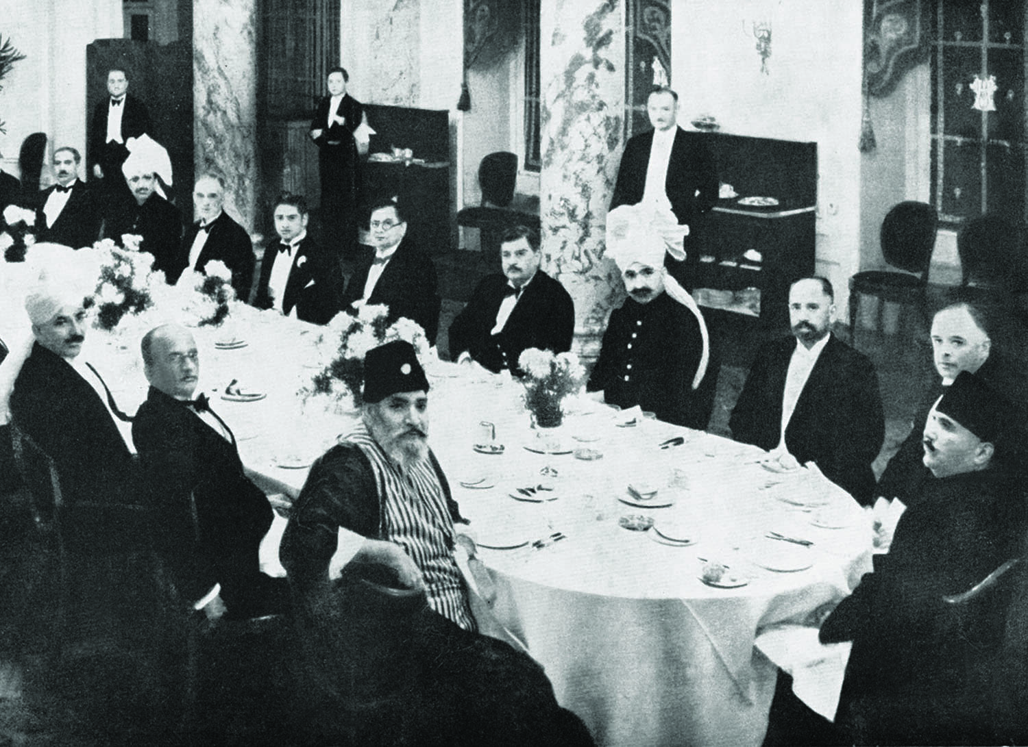 Allama Iqbal (extreme right) with other delegates at a reception following the Second Round Table Conference in London 1931.  Photo: Iqbal Academy.