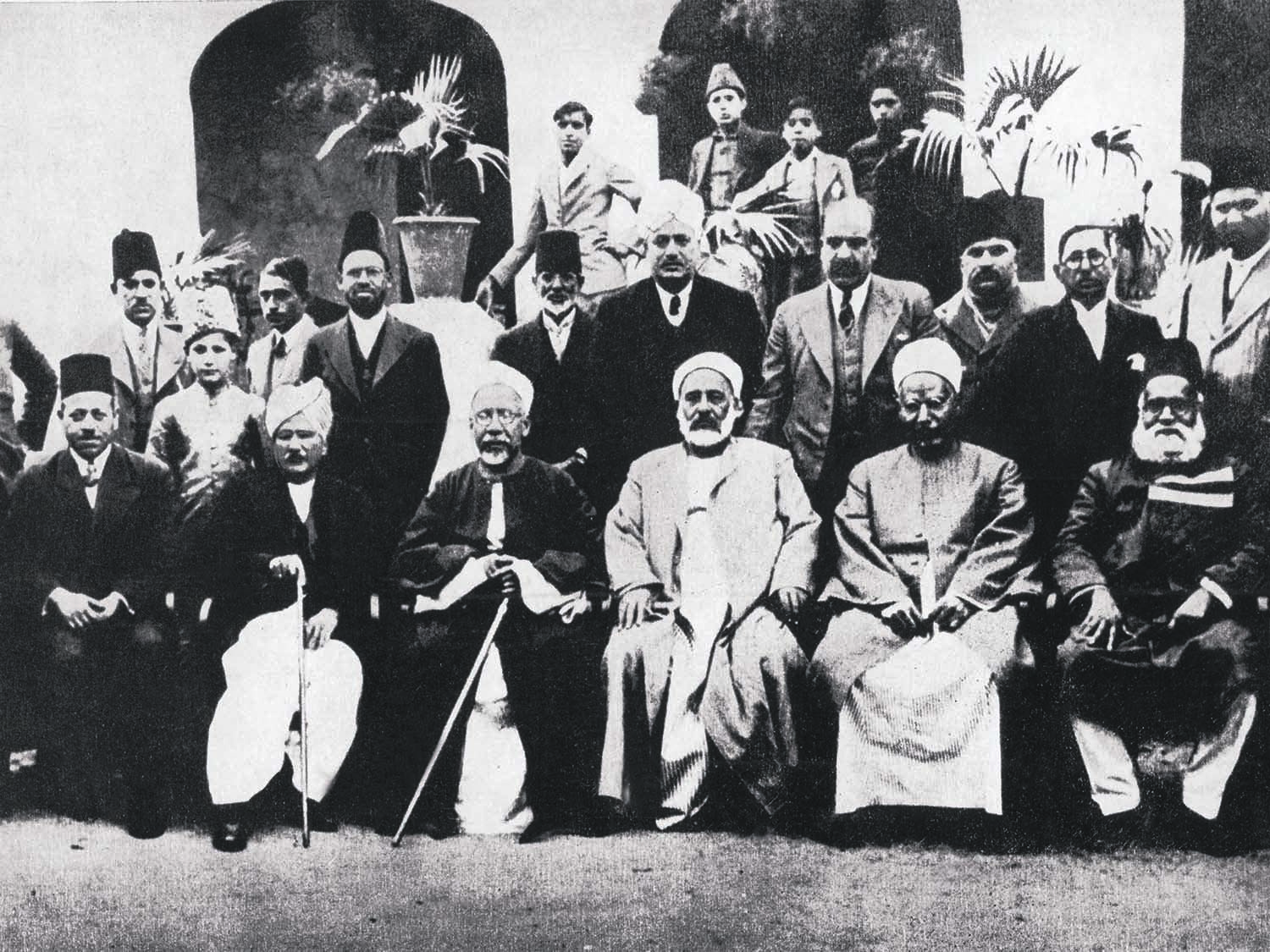 Allama Iqbal (back row; third from right) with scholars from the famous Al-Azhar University, Cairo, who visited Lahore in 1937. Photo: The Allama Iqbal Collection.