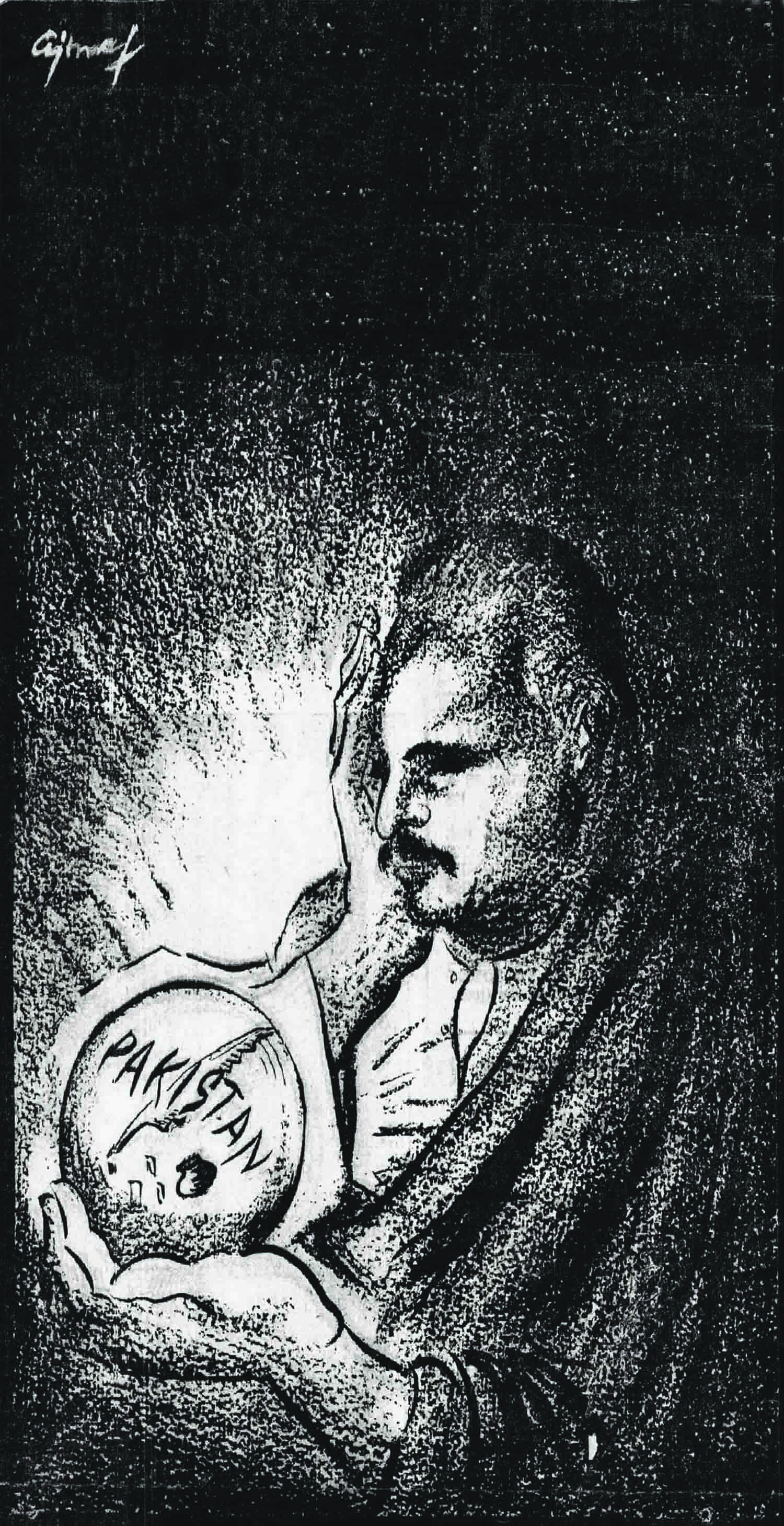 A sketch by renowned artist Ajmal Hussain depicting the man, Allama Iqbal, and his dream, Pakistan. Ajmal was the nephew of Altaf Hussain, the first editor of *Dawn* Karachi in which the illustration was published on April 21, 1948, marking the 10th anniversary of the death of Allama Iqbal.