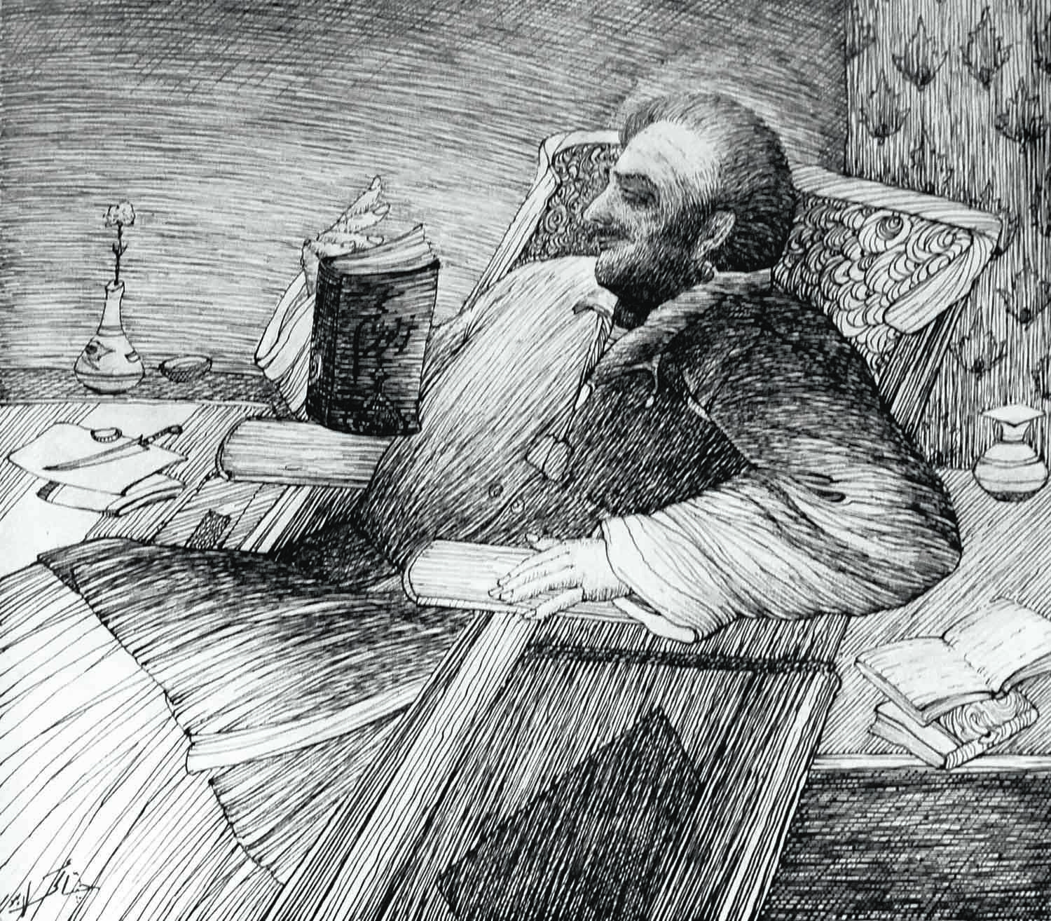 Inspired by a quatrain from Dana-i-Raaz, Chughtai etched a powerful portrait of Iqbal (above) reading through Zabur-i-Ajam, a volume of his poems.