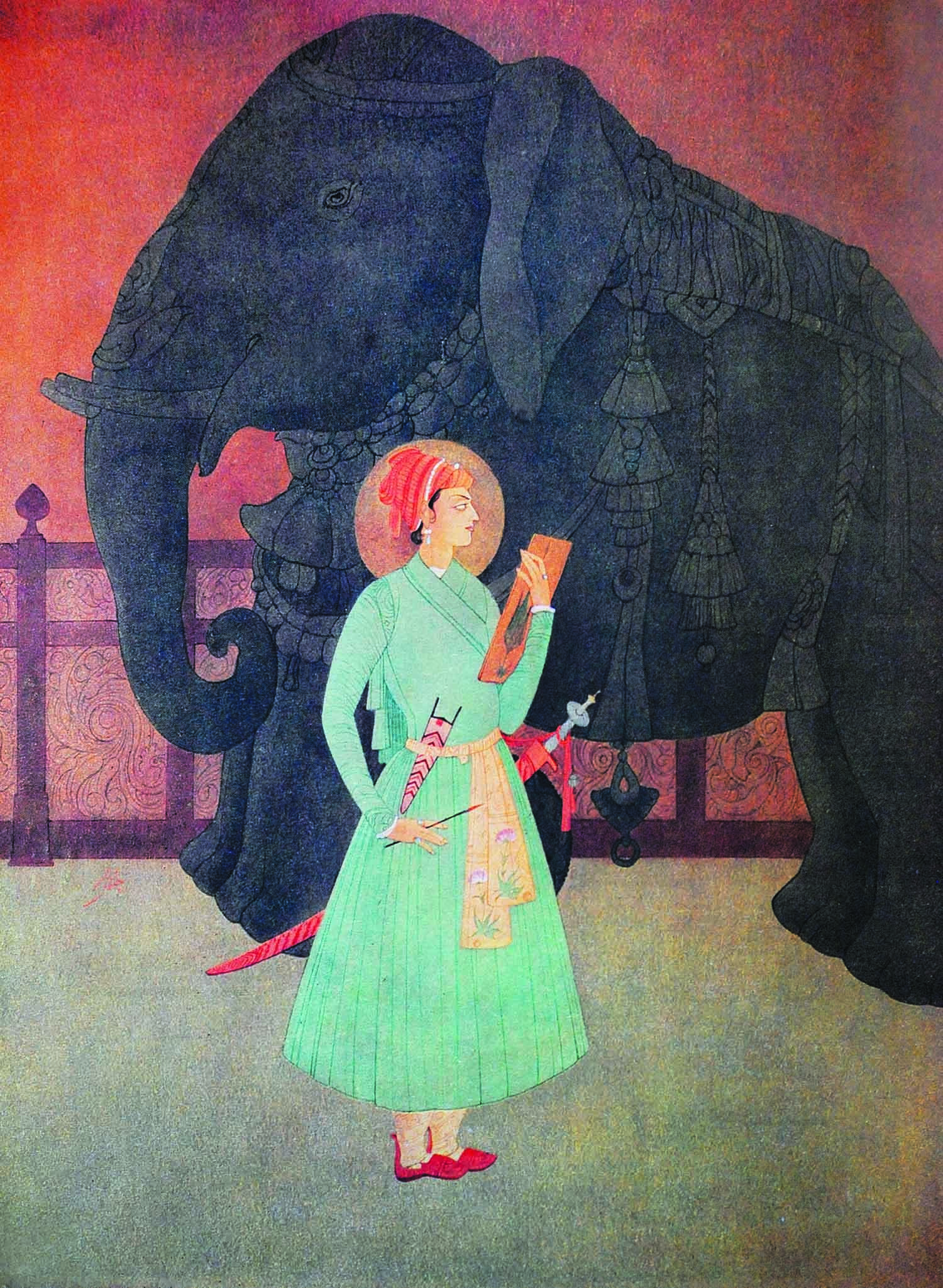 *Appear, O Rider of Destiny!/ Appear, O light of the dark realm ofchange,/ Silence the noise of the nations;/ Impress upon our ears thy music;/ Arise and tune the Harp of Brotherhood,/ Give us back the cup of the Wine of Love.* Chughtai's historical painting *Prince Salim* represents a confluence of the well-honed aesthetic of his own Chagatai Mongol heritage and that of the lineage of the Tartar Mughals represented by Prince Salim, who stands before the sculpture of an elephant with characteristic elegance.