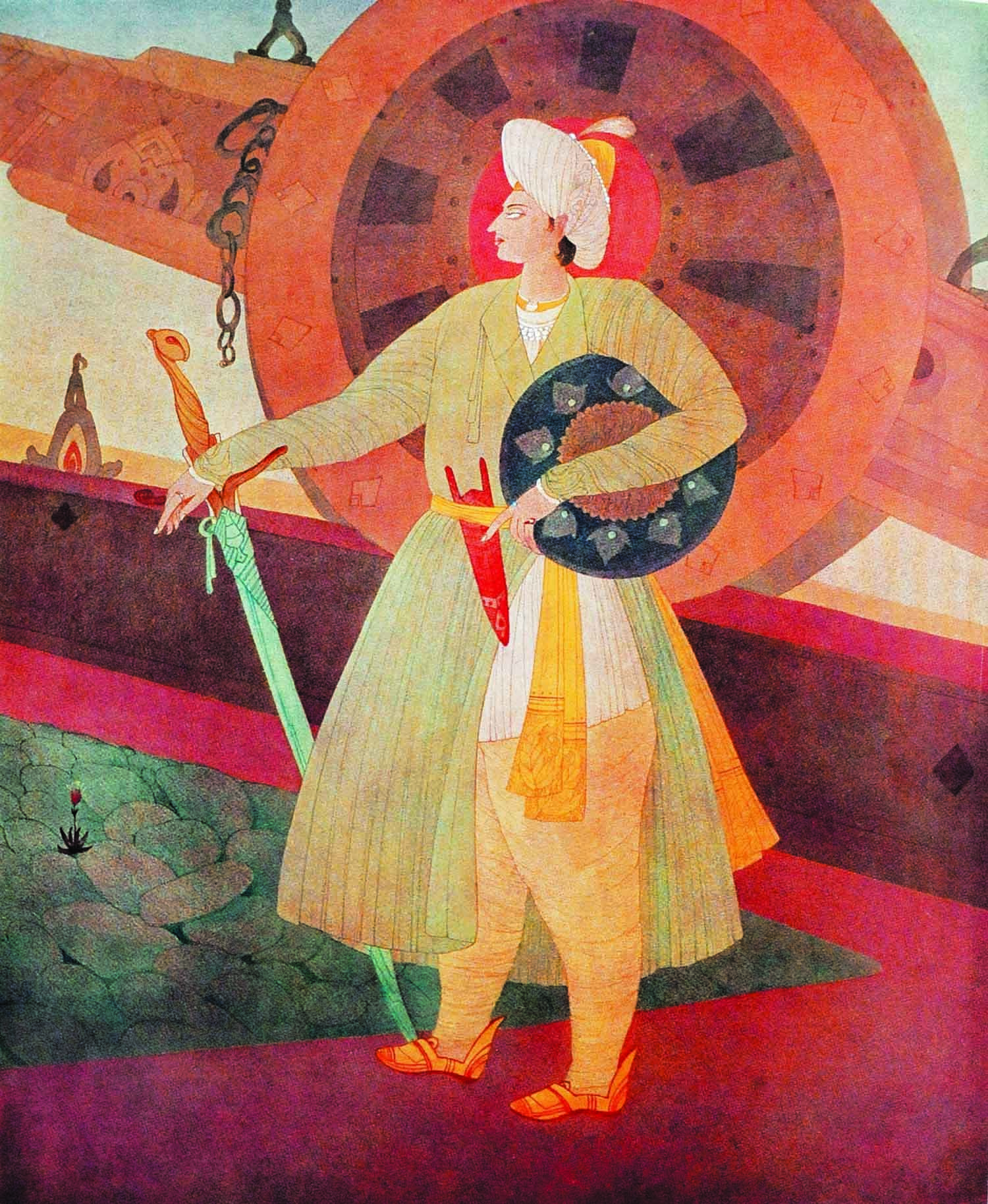 *Like eagles, should be thy life, thy death,/ Eternity lies in the breath of life,/ I do not seek to discover its length. What is Eternity's law and principle? The single breath of a tiger/ Is better than a century lived by a sheep.* In Tipu's magnificent watercolour, *Sultan Shaheed*, Chughtai captures the valour in war of this much-admired monarch, who chose to live the life of a tiger in preference to the mundane drudgery represented by the life of a sheep.
