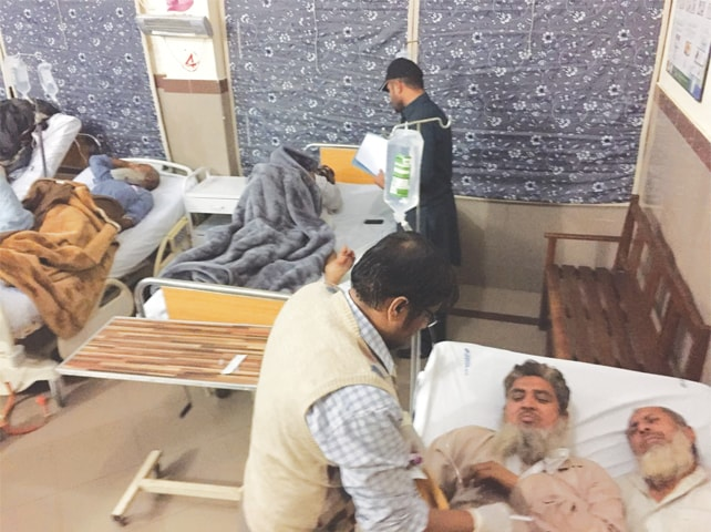 THE injured passengers are being treated at the Talagang Hospital.—Photo by writer