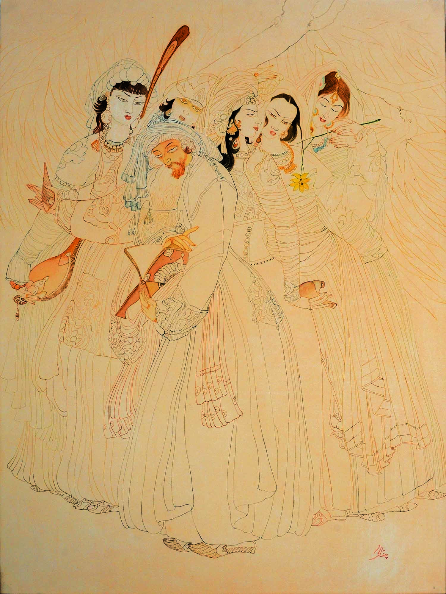 *The form of existence is an effect of the self,/ Whatsoever thou seest is a secret of the self,/ When the self awoke to consciousness,/ It revealed the universe of thought.* Chughtai's masterpiece *More Than Shadow* was created in response to the preceding couplets of Allama Iqbal.