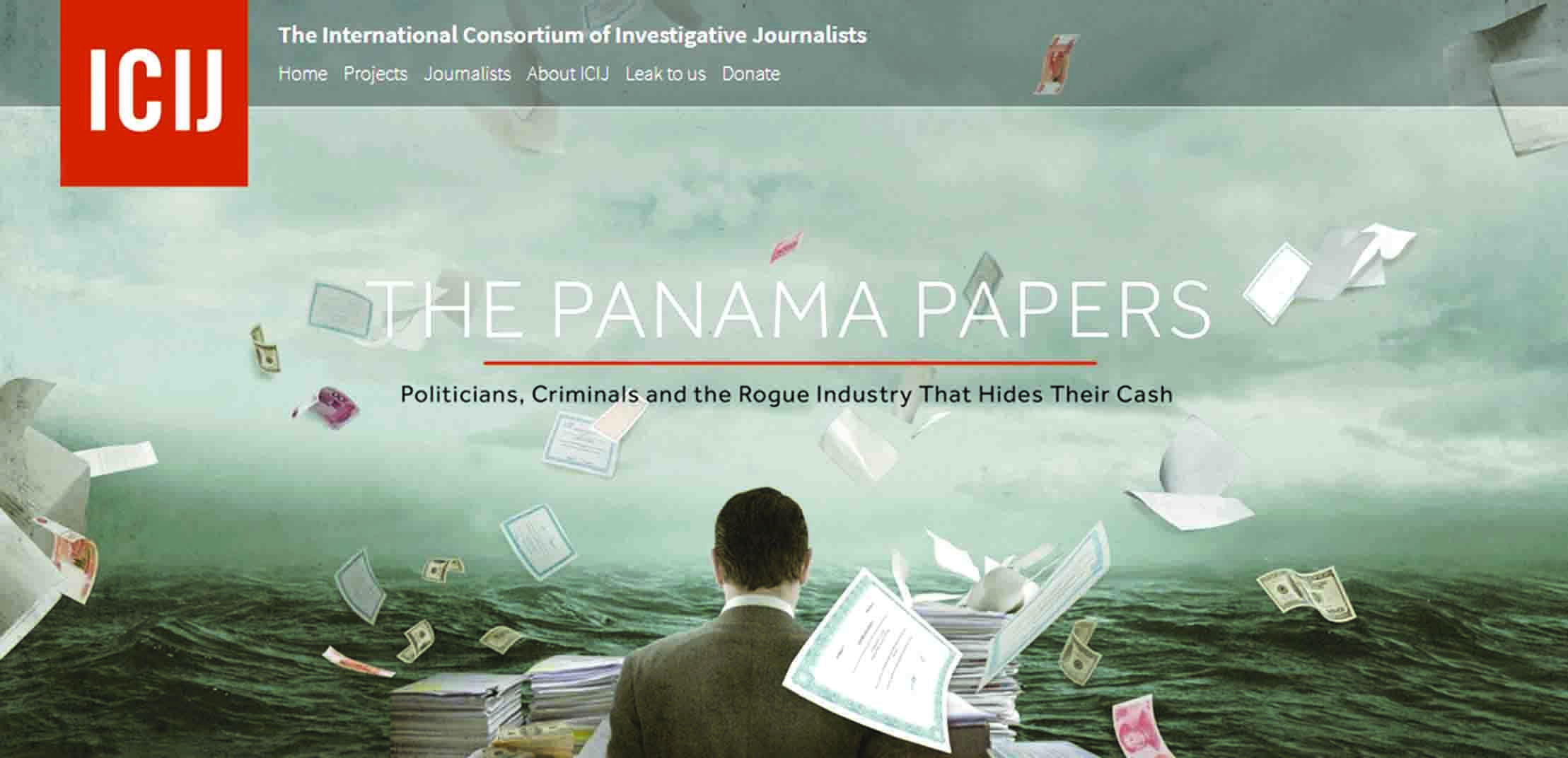 A screenshot of the official website of the International Consortium of Investigative Journalists (ICIJ) which took the political elite by surprise with what subsequently came to be known as The Panama Papers.