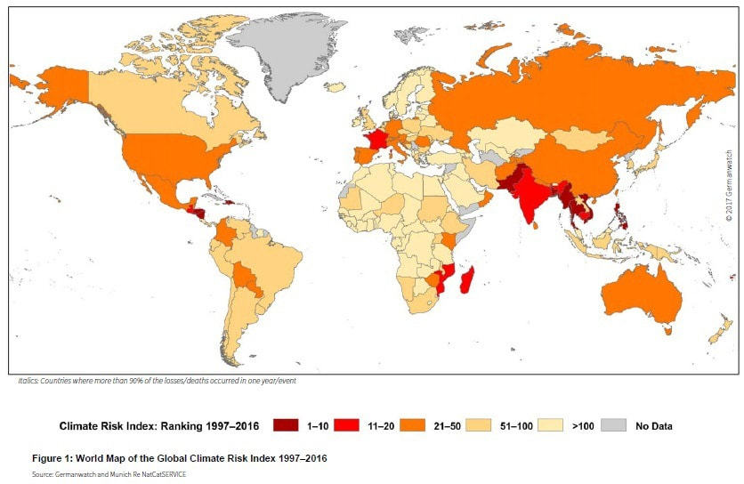 World Map of the Global Climate Risk Index 1997–2016. Source: Germanwatch and Munich Re NatCatSERVICE
