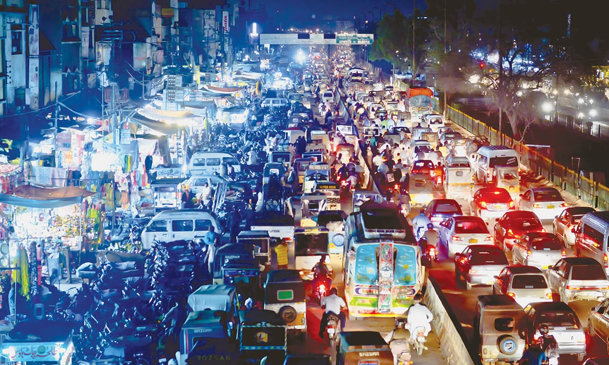 A main road in Karachi choked by a traffic jam during rush hour | Fahim Siddiqui, White Star
