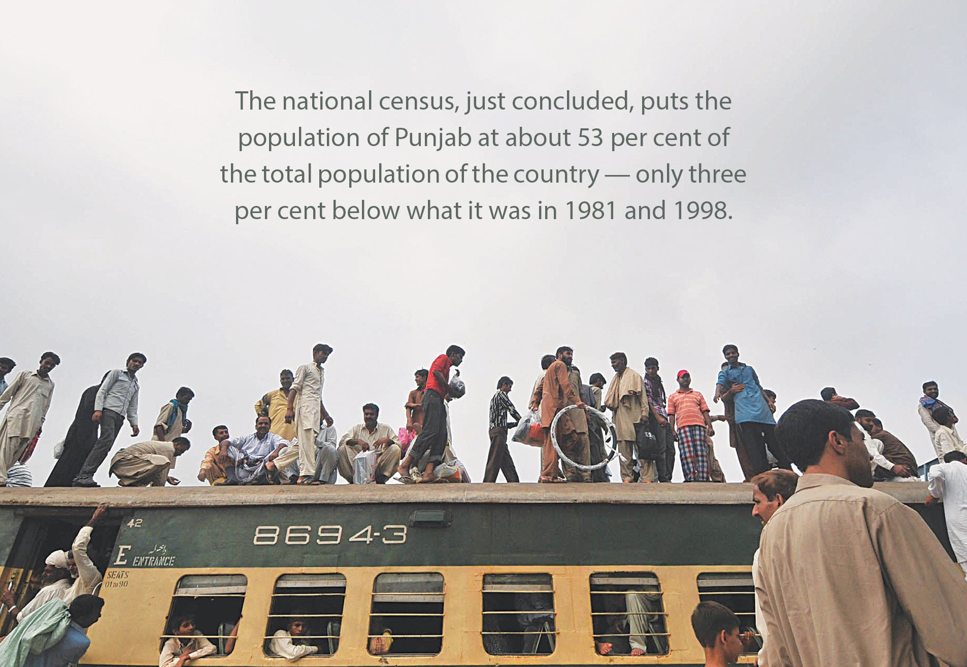 Commuters on an overcrowded train in Lahore | M Arif, White Star