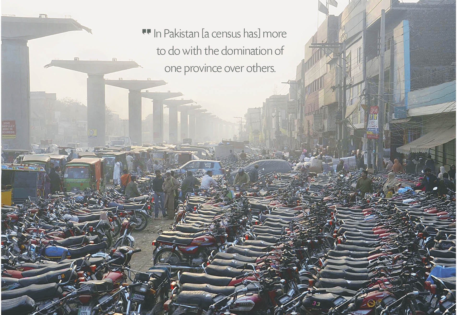 Motorcycles crowd Shalimar Road in Lahore | Tariq Mehmood, White Star