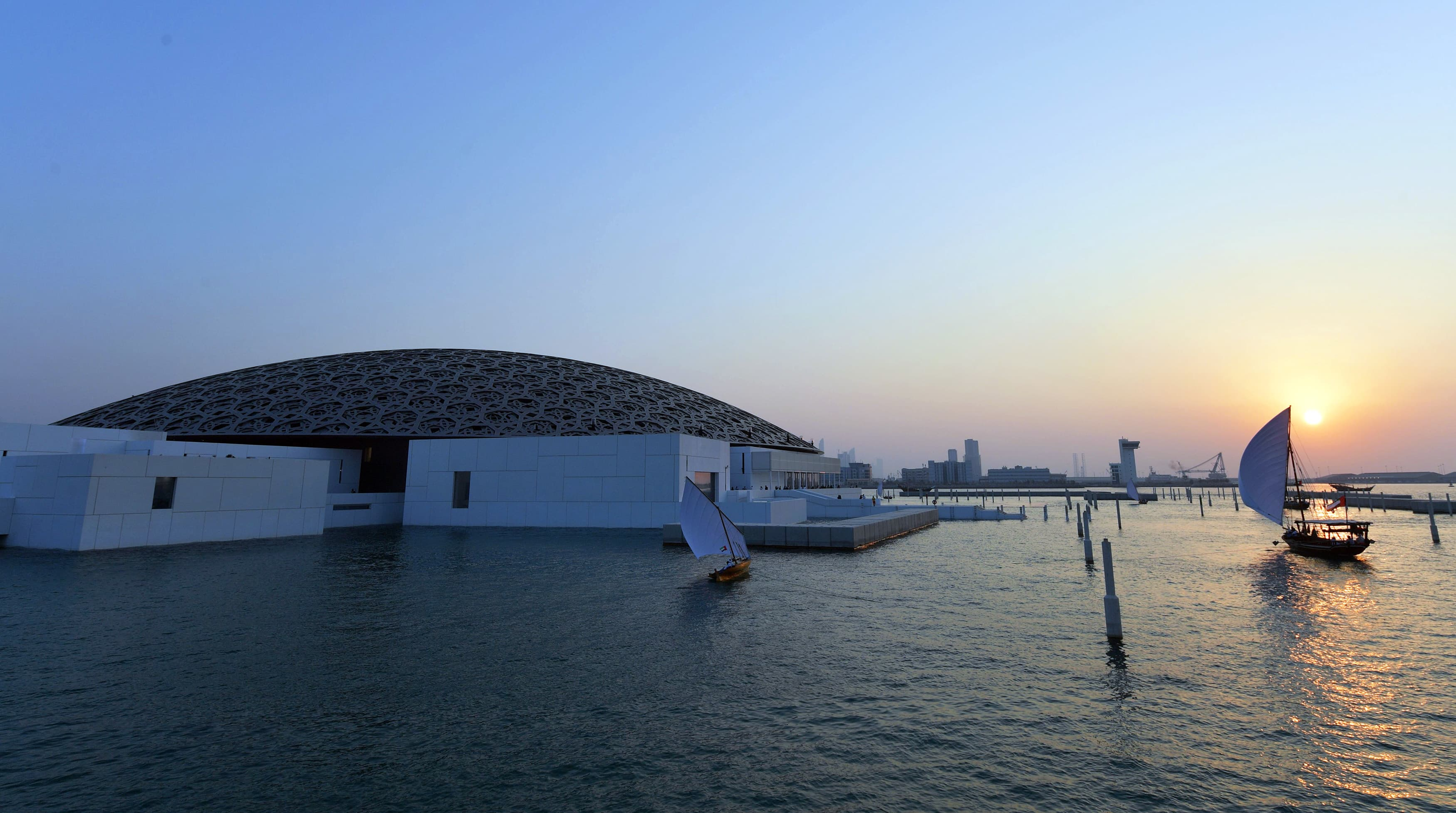 A view of the Louvre Abu Dhabi Museum designed by French architect Jean Nouvel. —AFP