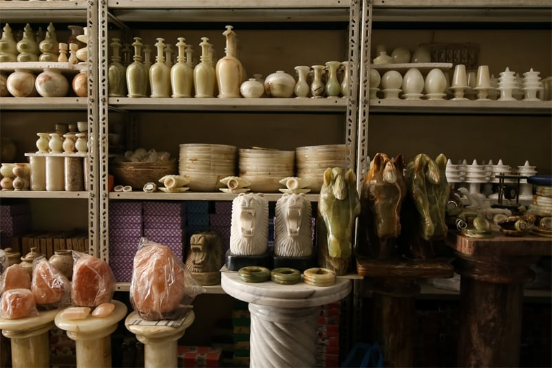From Pak Colony to China: various handicrafts and decorative items on display at Jawed's shop that will be displayed at trade fairs in China and subsequently exported | Photos by the writer