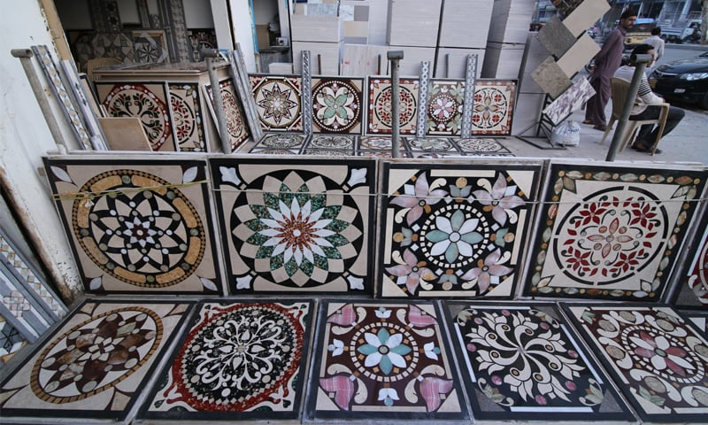 Tiles made from leftover marble. These are said to come from Punjab and are made by women, who are often not paid as much as their men counterparts. As a result, not only are the tiles made in Punjab cheaper but they also negatively impact the labour market in Karachi