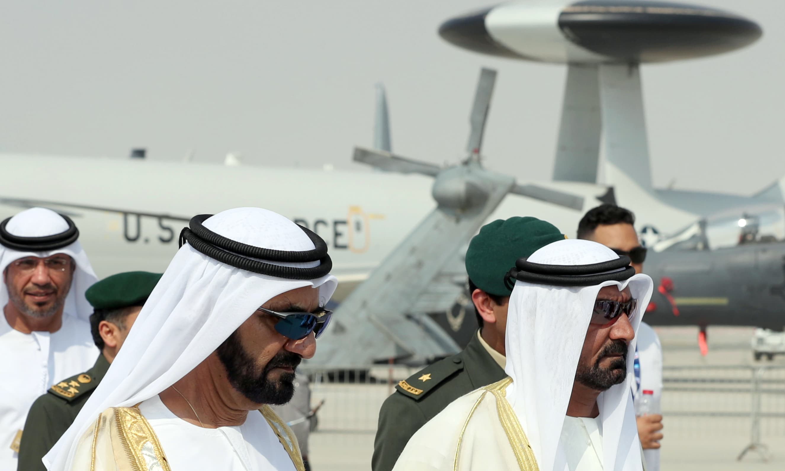 Ruler of Dubai Sheikh Mohammed bin Rashid al-Maktoum attends the Dubai Airshow.—AFP