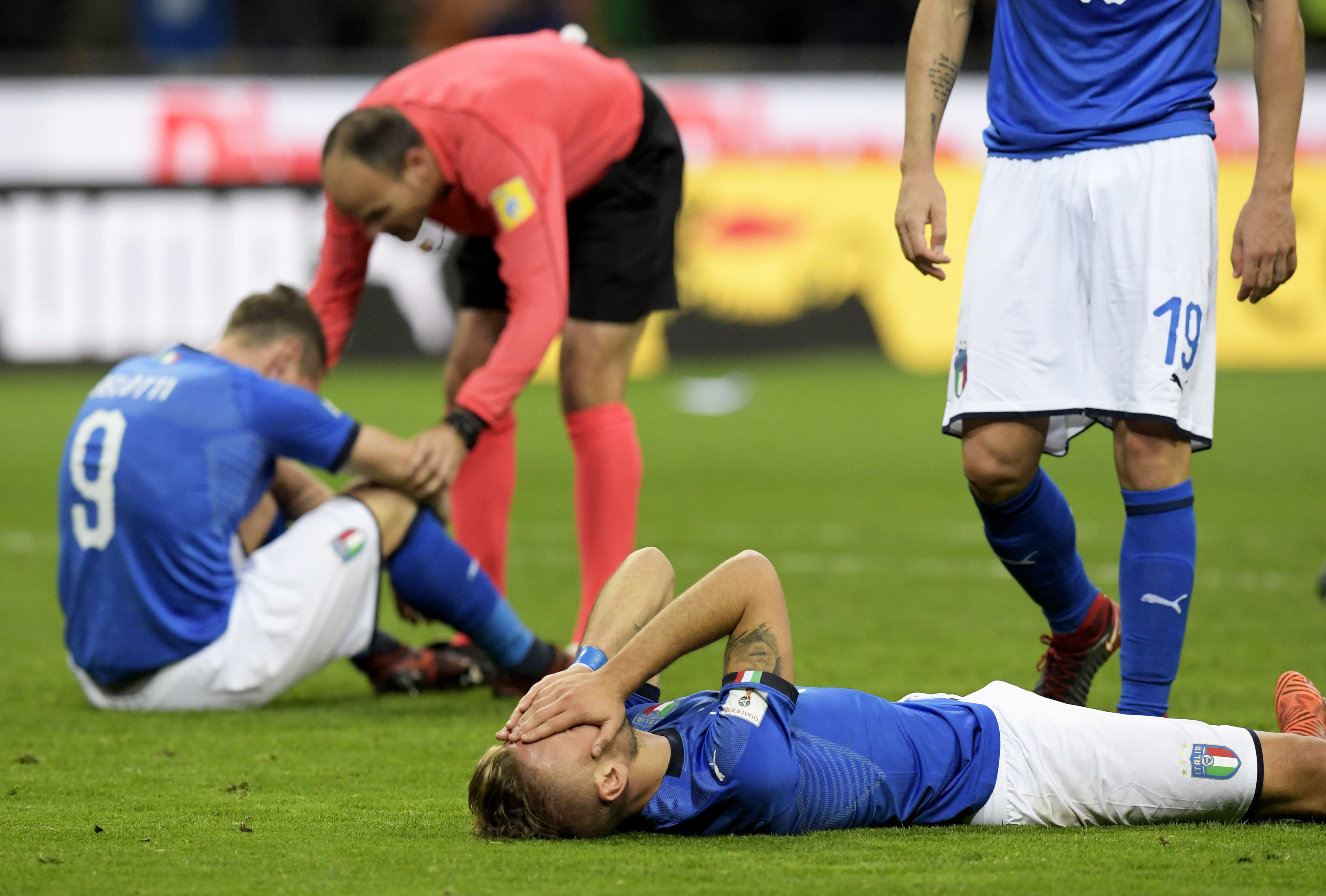 Italy's forward Ciro Immobile reacts at the end of the FIFA World Cup 2018 qualification football match between Italy and Sweden, on November 13, 2017 at the San Siro stadium in Milan. —AFP
