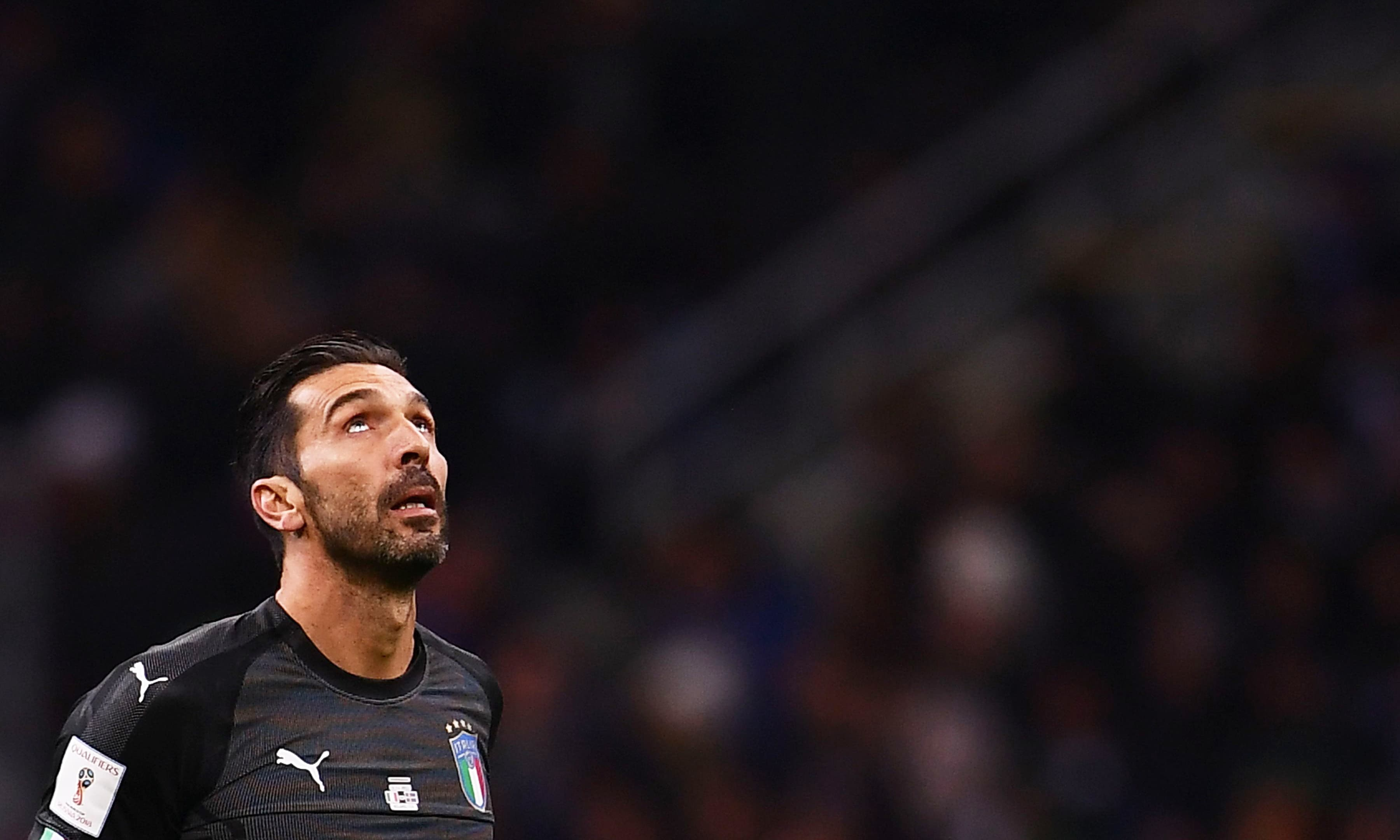 Italy's goalkeeper Gianluigi Buffon reacts during the FIFA World Cup 2018 qualification football match between Italy and Sweden. —AFP