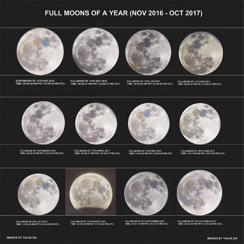 A COMPOSITE of 12 single images of the moon takenby Talha Zia in Pakistan over a period of one year from Nov 2016 to Oct 2017.—Image courtesy Nasa APOD