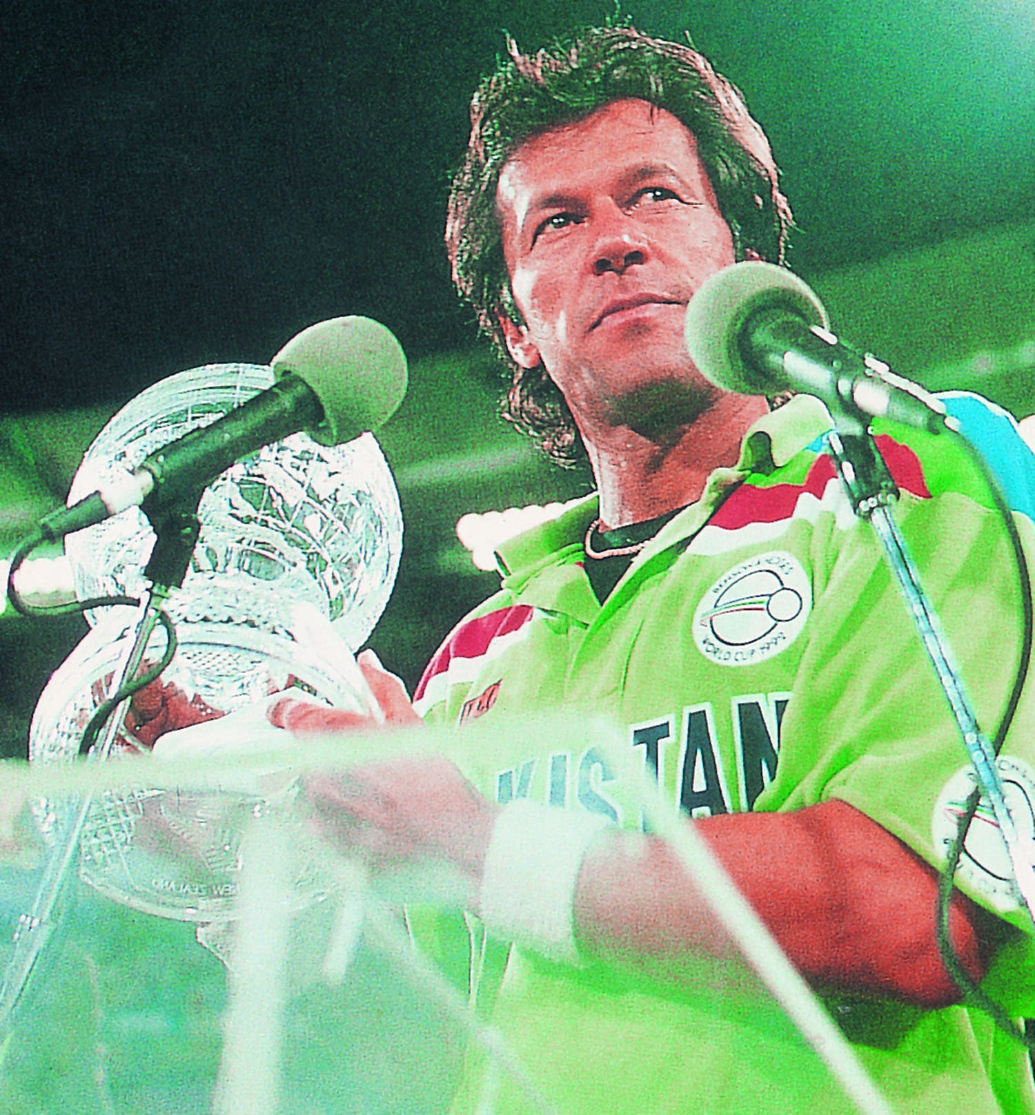 The man and the Cup. Imran Khan speaking as the winning captain in Australia at the end of the 1992 World Cup.