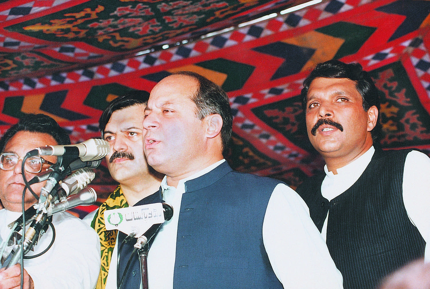 Nawaz Sharif addressing a public meeting in the good old days when he shared the legacy of his mentor with two others. Ejazul Haq (right), the son of General Ziaul Haq, and Humayun Akhtar (left),the son of General Akhtar Abdur Rahman, remained loyal for a while to the man their respective fathers supported. They subsequently moved out of his shadow and went their own independent ways.
