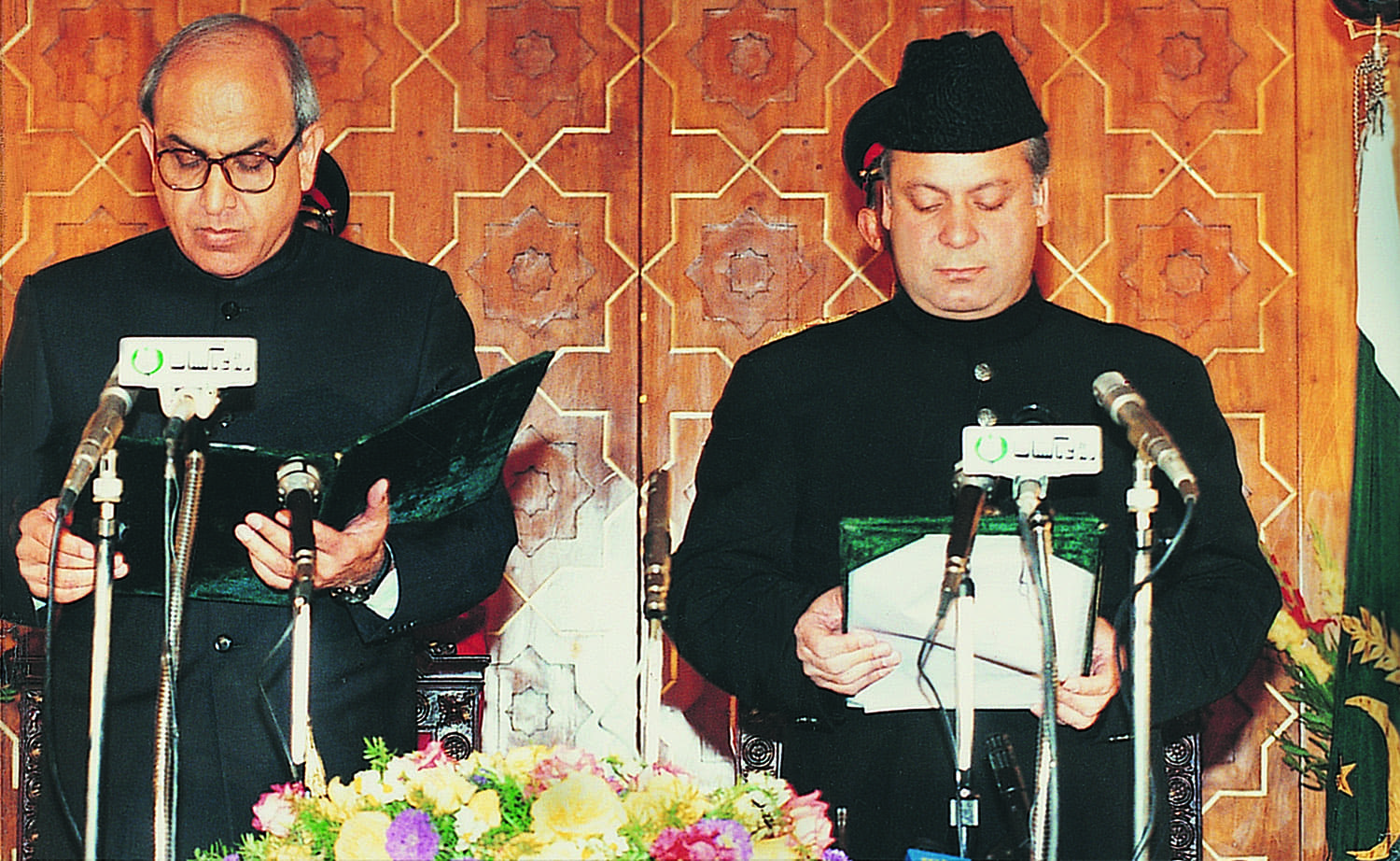 Nawaz Sharif (right) taking oath at the beginning of his second term in the prime minister's office from president Farooq Leghari. Less than a year later, the president was shown the door by the prime minister who wanted to have the wings cleared.
