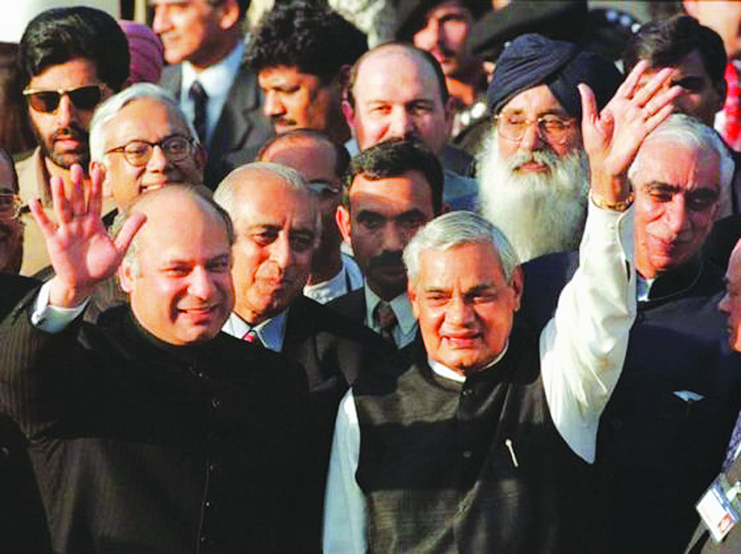 Prime minister Nawaz Sharif (left) and his visiting Indian counterpart, Atal Behari Vajpayee, at the Wagah border in May 1999. It was called a 'defining moment in history' at the time, but turned out to be one of the many false starts the two countries have had over the years.