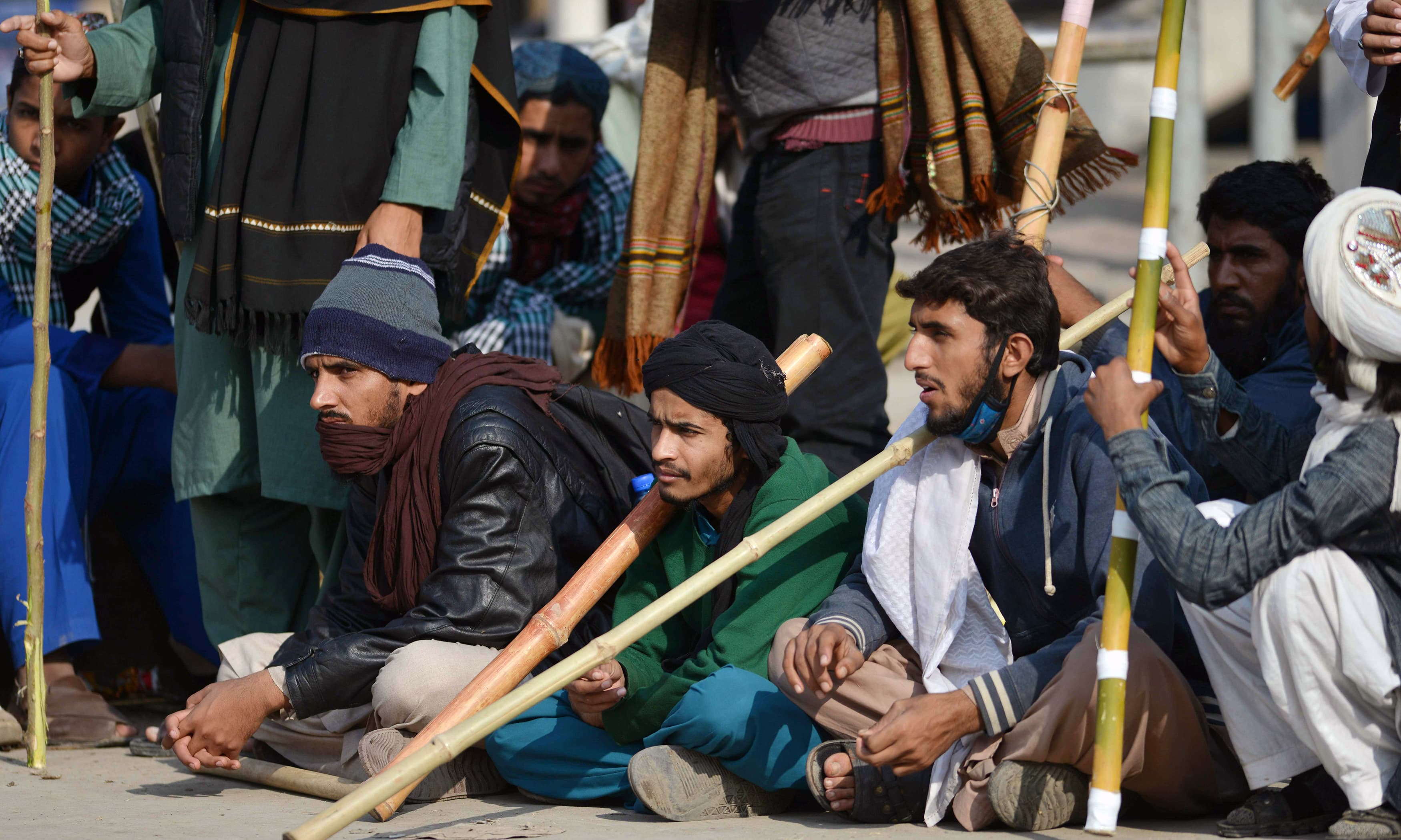 Religious activists block protest in Islamabad. —AFP
