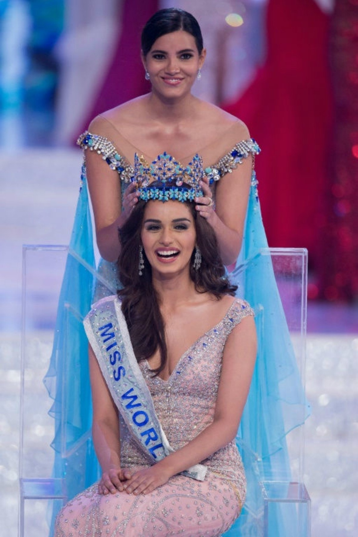 Chhillar was handed the crown by last year's winner, Stephanie del Valle of Puerto Rico — AFP