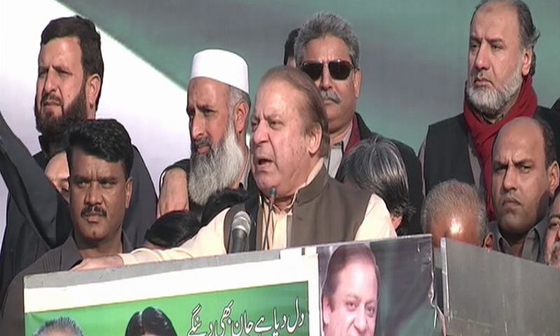PML-N leader Nawaz Sharif addresses a public gathering in Abbottabad on Sunday.—DawnNews