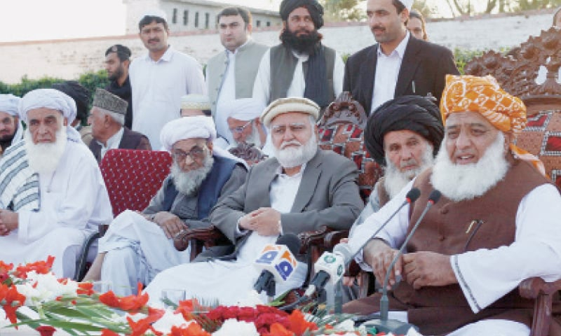 Maulana Fazlur Rehman addresses an ulema conference in Bannu on Monday. — Online