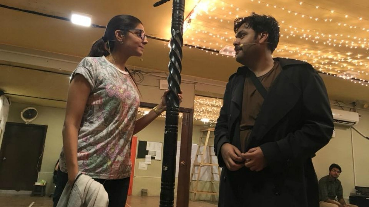 Sanam Saeed and Faraz Lodhi rehearse a scene from The 39 Steps
