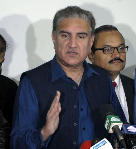 PTI vice chairman Shah Mehmood Qureshi talks to reporters after the National Assembly session on Tuesday.—Online