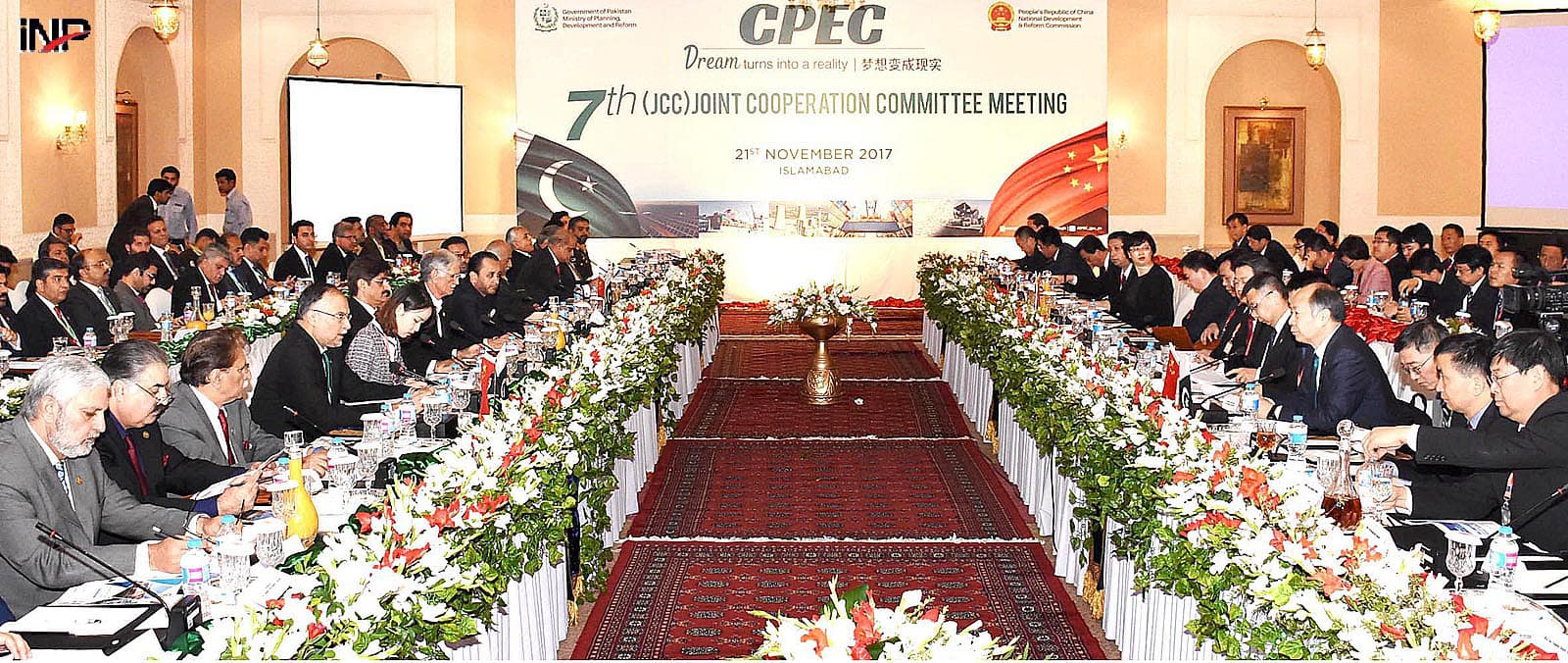 ISLAMABAD: The CPEC Joint Cooperation Committee holds a meeting on Tuesday. Ahsan Iqbal, the Minister for Interior and Planning, and Wang Xiaotao, a senior Chinese official, led the two sides.—INP