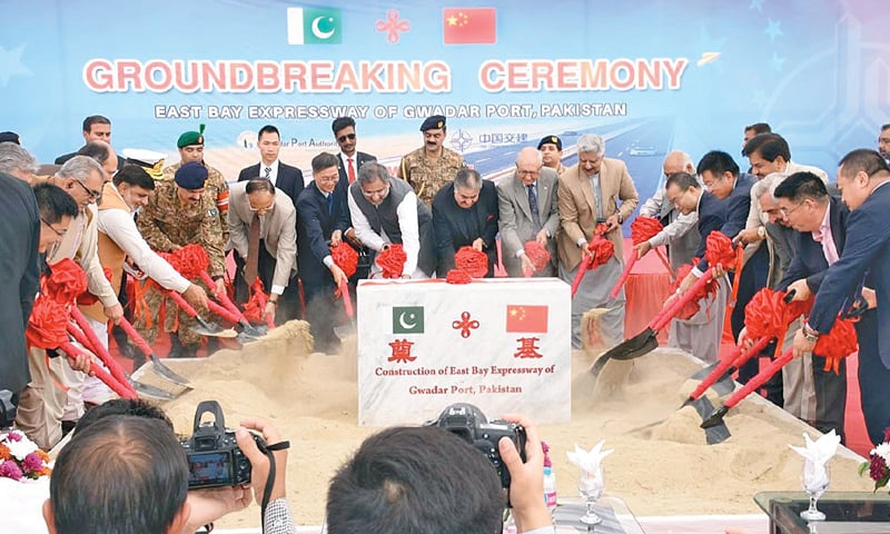 GWADAR: Prime Minister Shahid Khaqan Abbasi performs the groundbreaking of East Bay Expressway on Wednesday. The project was termed symbolic of the lofty Pakistan-China friendship.—INP