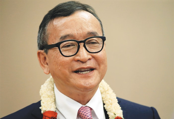 A file photo of Cambodian opposition leader Sam Rainsy.—Reuters