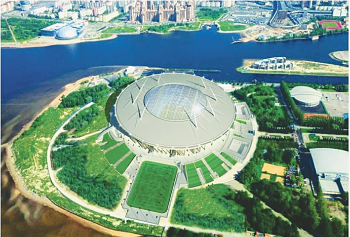 An aerial view of Stadium Saint Petersburg, one of the playing venues of the World Cup