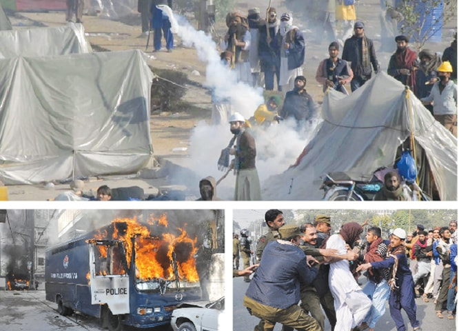 (Above) Activists of religious groups throwing back tear gas shells at law enforcement agencies personnel in Islamabad during the crackdown. A police van in flames (below, left) after protesters in Rawalpindi set it on fire while police in Lahore arrest some protesters.—Online