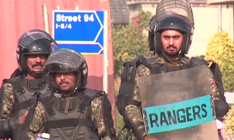 Rangers deployed in Islamabad.─DawnNews