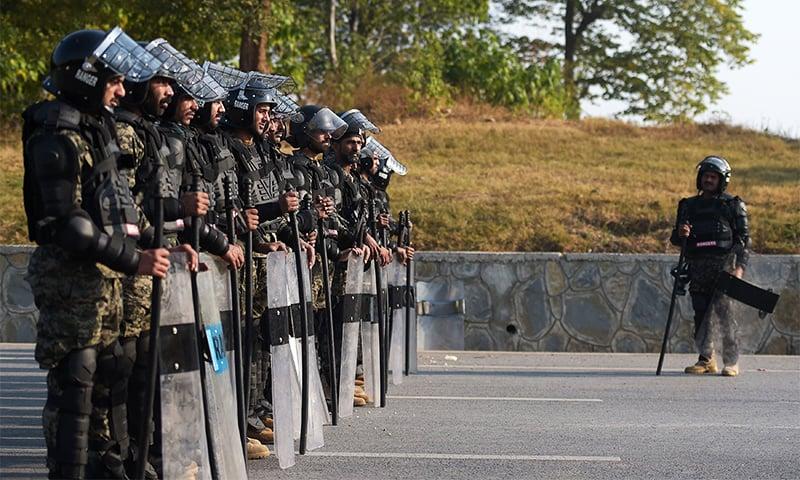 Rangers deployed in Islamabad.─DawnNews