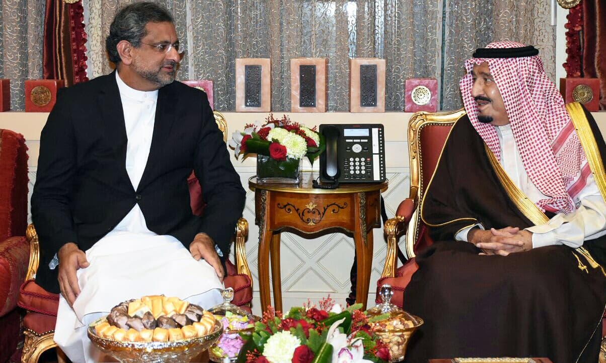 "PM Abbasi and King Salman ""reviewed the entire spectrum of bilateral relations in addition to the regional and international issues"". —PID"