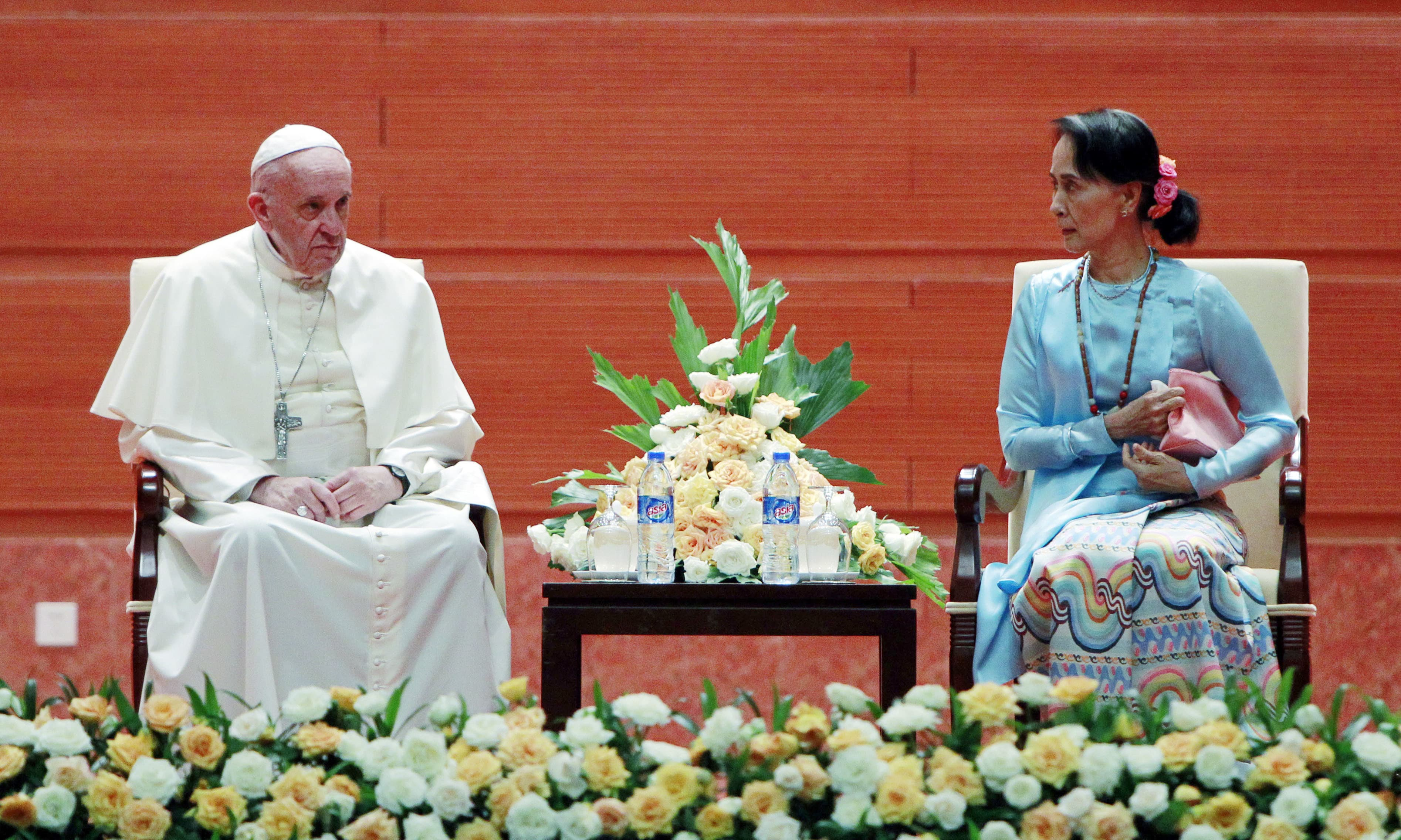 Myanmar's leader Aung San Suu Kyi talks to Pope Francis at a meeting in Naypyitaw, Myanmar. — AP