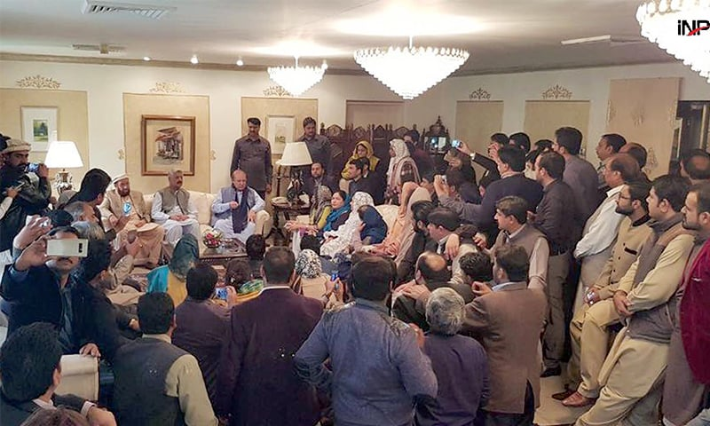 ISLAMABAD: Former prime minister Nawaz Sharif speaks at an informal consultative meeting of the ruling Pakistan Muslim League-Nawaz on Tuesday.—INP
