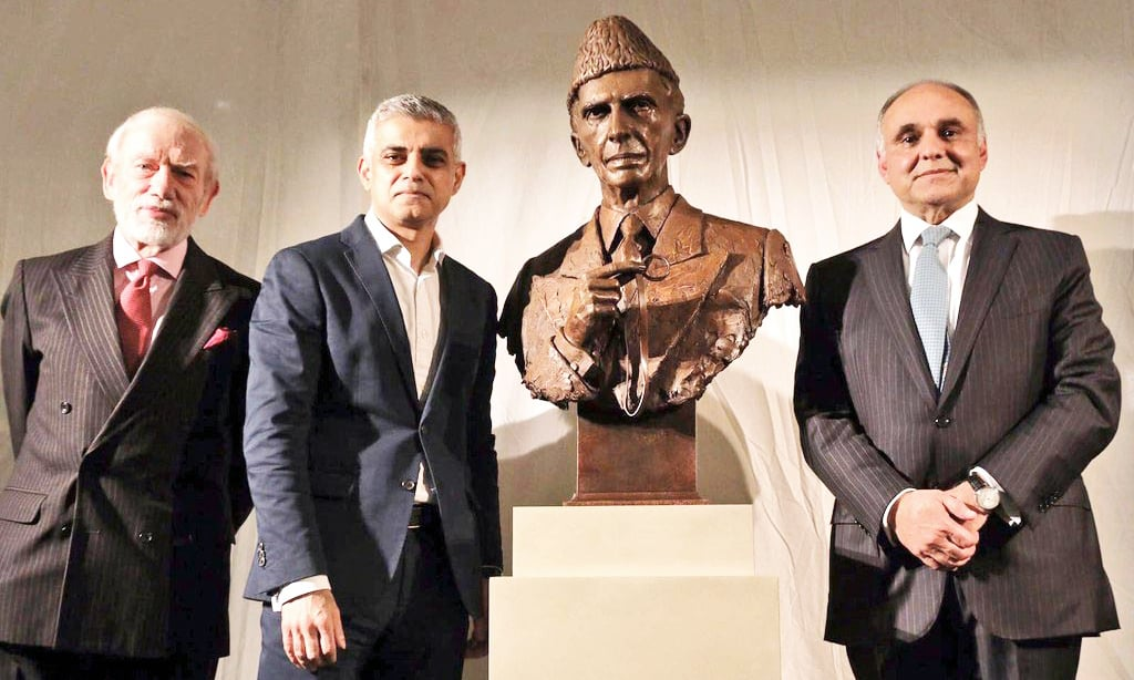 Pakistan's High Commissioner in London Syed Ibne Abbas and London Mayor Sadiq Khan at the unveiling ceremony of Quaid-i-Azam Mohammad Ali Jinnah's sculpture at the British Museum. —Online