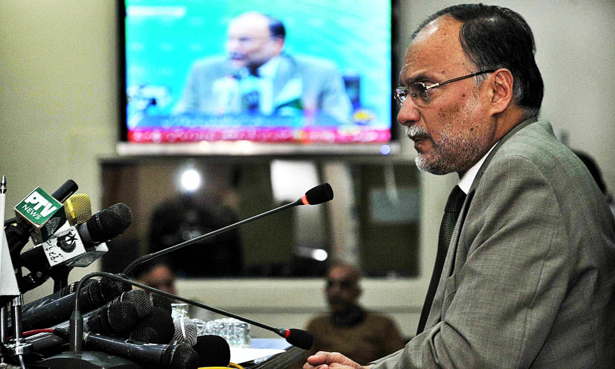 Ahsan Iqbal addresses a press conference at PID Media Centre. —APP