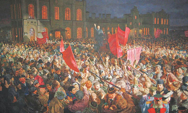 A depiction by an unknown artist of the crowd listening to a speech by Lenin