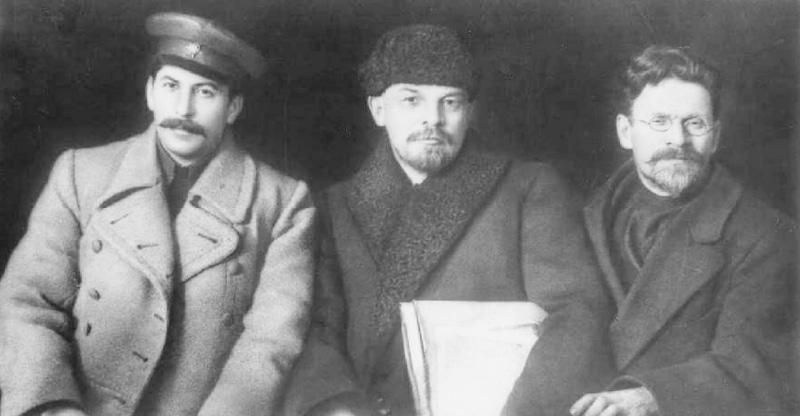 The old Bolsheviks: Joseph Stalin, Vladimir Lenin and Makhail Kalinin