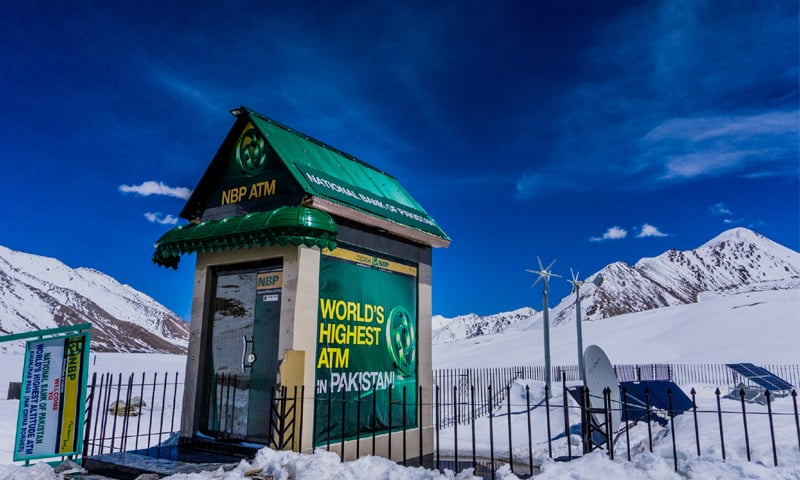 The world's highest ATM on the Pakistan side, installed by the National Bank of Pakistan. You can tell that it was built by the Chinese because of the Chinese features on the structure, which appear on both sides